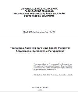 Capa da publicação em que se lê em destaque: Tecnologia Assistiva para uma Escola Inclusiva: Apropriação, Demandas e Perspectivas