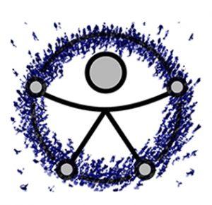 Símbolo da ONU dos direitos da pessoa com deficiência formado por figuras humanas dispostas em círculos