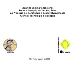 Capa: Caderno 2o Seminário Papel e Inserção do Terceiro Setor no Processo de Construção e Desenvolvimento da CT e I