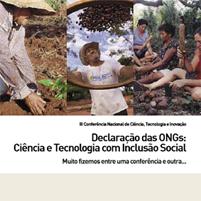 Capa: Caderno Declaração das ONGs: Ciência e Tecnologia com Inclusão Social