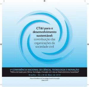 Capa: CT&I para o desenvolvimento sustentável: contribuição das organizações da sociedade civil
