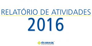 Capa do relatório anual de 2016 em que o número 2016 aparece em destaque.